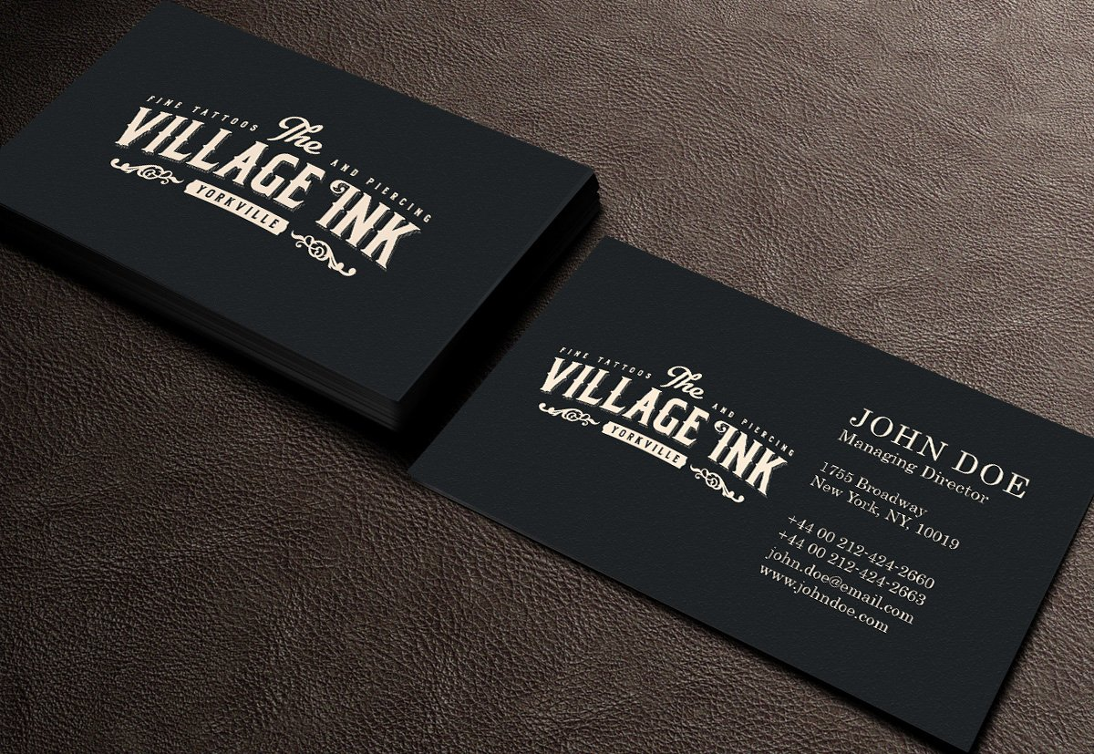 Tattoo Shop Business Cards New Masculine Upmarket Business Card Design for Jonny Silverstein by Gtools