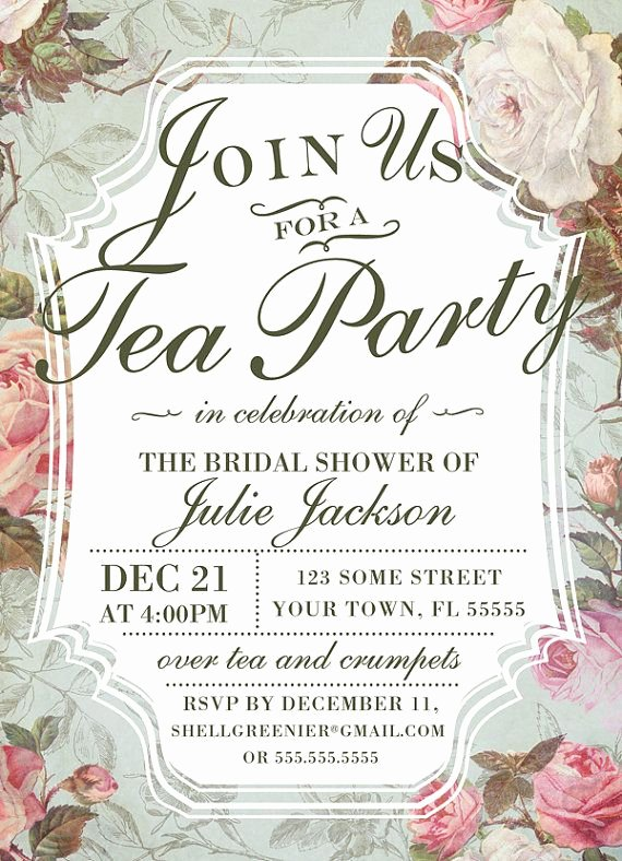 Tea Party Invitation Template Beautiful Bridal Shower Tea Party Invitation Template Vintage Rose Shower Invitation Printable Diy