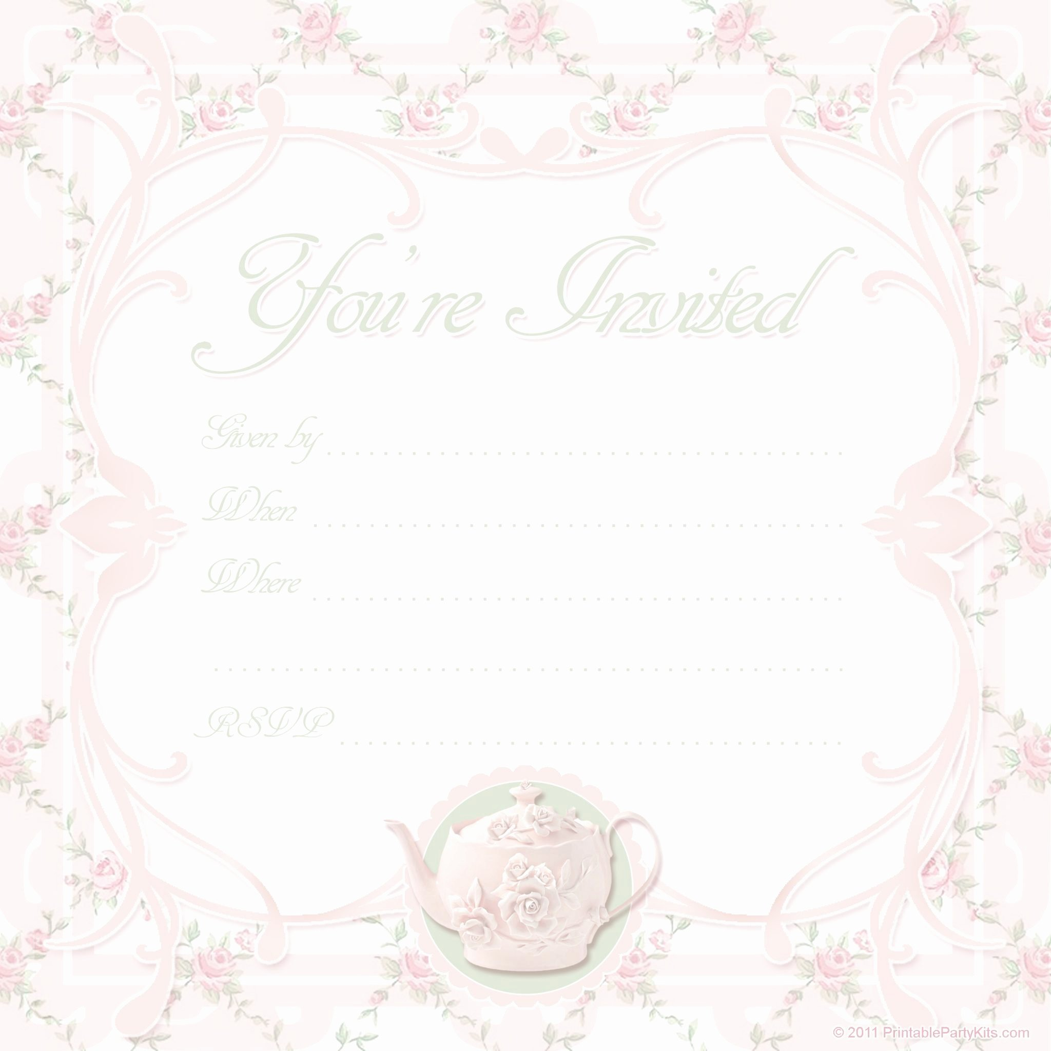 Tea Party Invitation Template Beautiful Free Printable Tea Party Invite Template Printable Party Kits