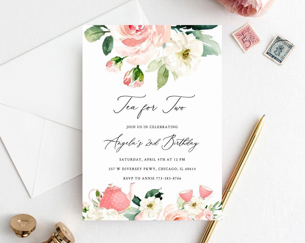 Tea Party Invitation Template Beautiful Tea for Two Birthday Invitation Template Printable Tea Party Invitati