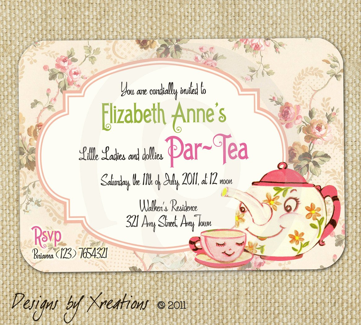 Tea Party Invitation Template Elegant Items Similar to Cute Vintage Tea Party Invitation Digital Template Customizable Wordings
