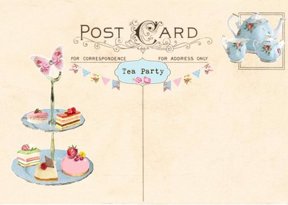 Tea Party Invitation Template Fresh Vintage Tea Party Invitation Tea Party Postcard Printable