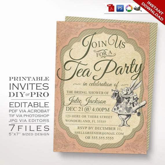 Tea Party Invitation Template Inspirational Alice In Wonderland Tea Party Invitation Template Vintage