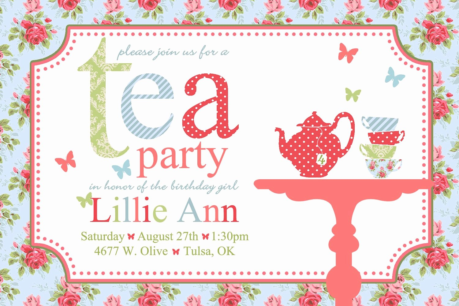 Tea Party Invitation Template Inspirational Free afternoon Tea Invitation Template
