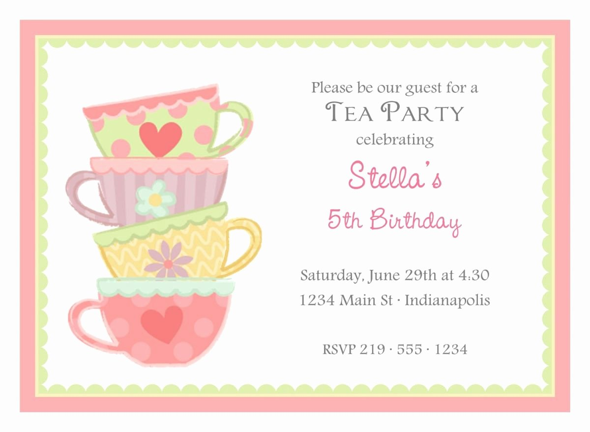 Tea Party Invitation Template Inspirational Free afternoon Tea Party Invitation Template Tea Party In 2019