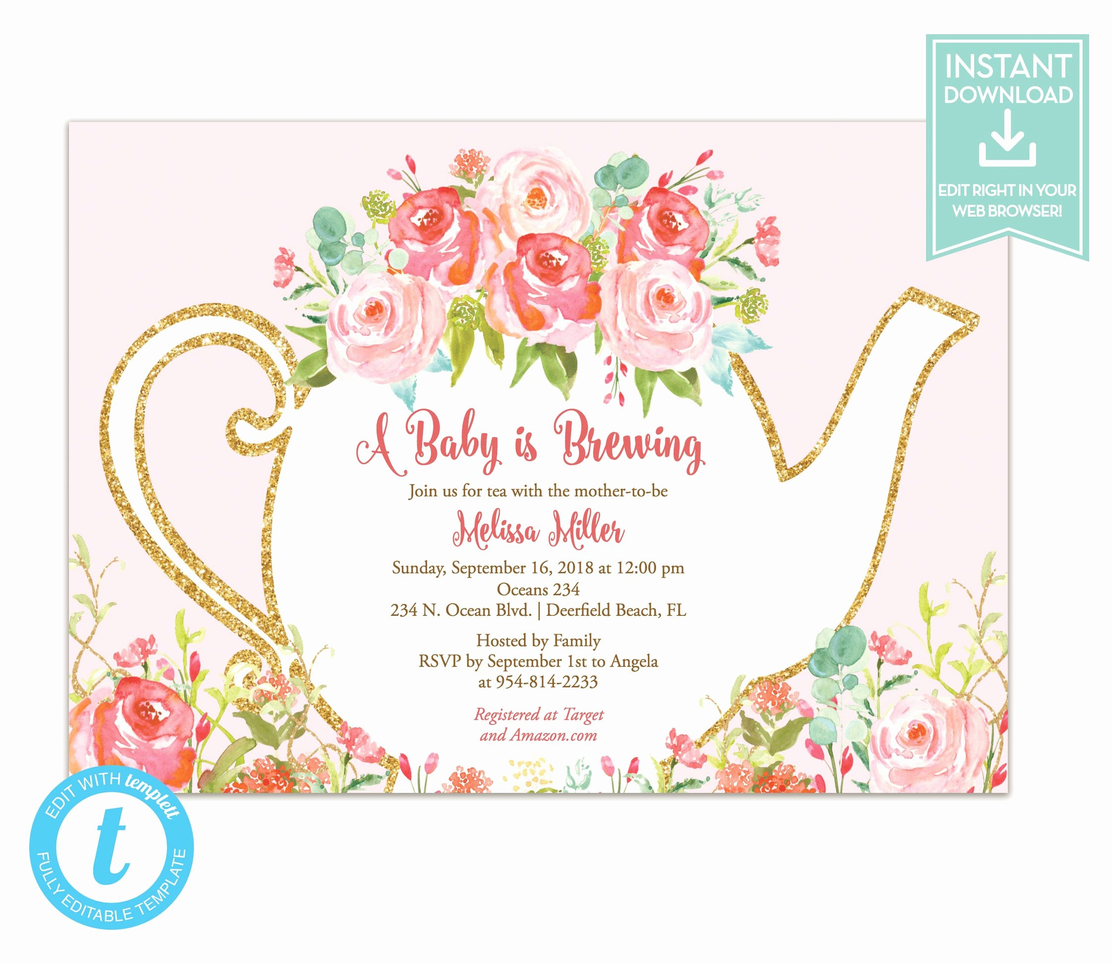 Tea Party Invitation Template Inspirational Tea Party Invitation Template Floral Teapot Bridal Shower