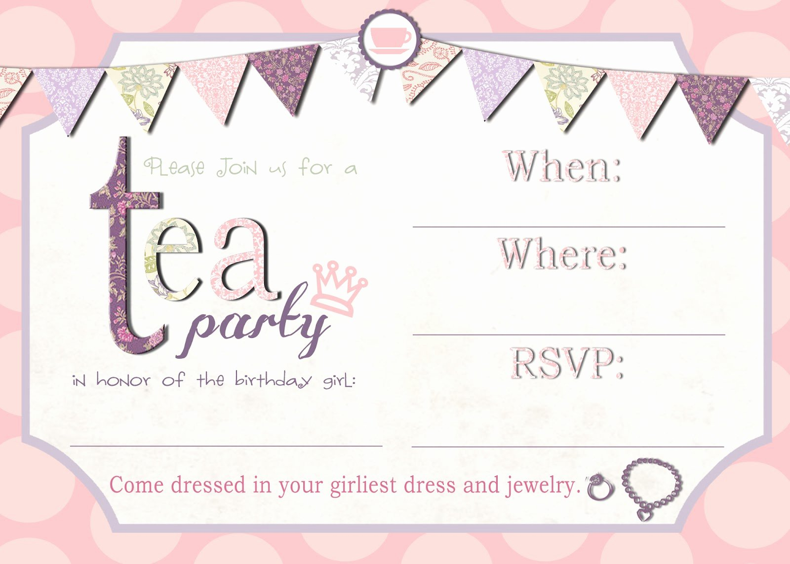 Tea Party Invitation Template Lovely Mrs This and that Free Tea Party Invite