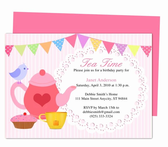 Tea Party Invitation Template Unique 34 Best Images About Birthday Invitation Templates for Any Party On Pinterest