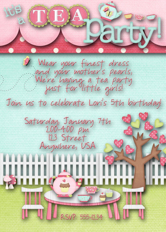 Tea Party Invitation Templates Awesome Tea Party Birthday Party Invitation