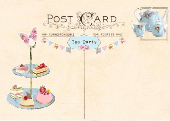 Tea Party Invitation Templates Awesome Vintage Tea Party Invitation Tea Party Postcard Printable