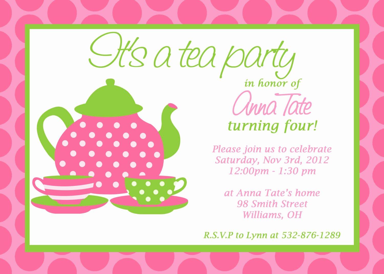 Tea Party Invitation Templates Beautiful Custom Printable Tea Party Invitation