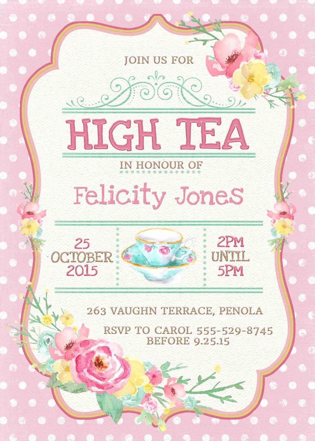 Tea Party Invitation Templates Elegant Kitchen Tea Invitation or High Tea by Westminsterpaperco On Etsy