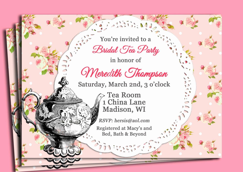 Tea Party Invitation Templates Elegant Vintage Tea Party Invitation Printable or Printed with Free