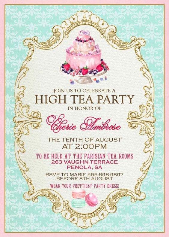 Tea Party Invitation Templates Fresh High Tea Invitation Template Invitation Templates J9tztmxz Restaurants Pinterest
