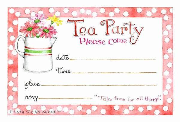 Tea Party Invitation Templates Inspirational Tea Party Blank Invitations