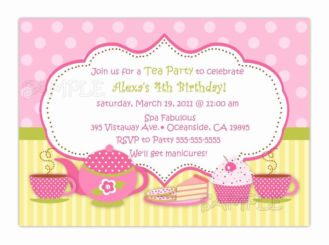 Tea Party Invitation Templates Luxury Tea Party Birthday Invitation You Print
