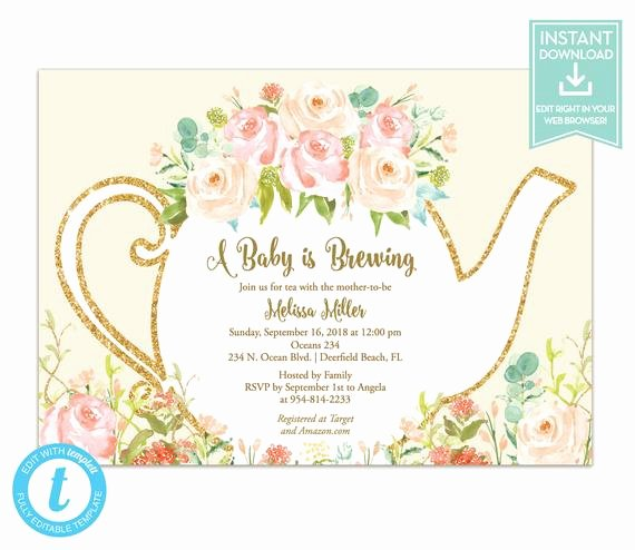 Tea Party Invitation Templates New Tea Party Invitation Template Floral Teapot Bridal Shower