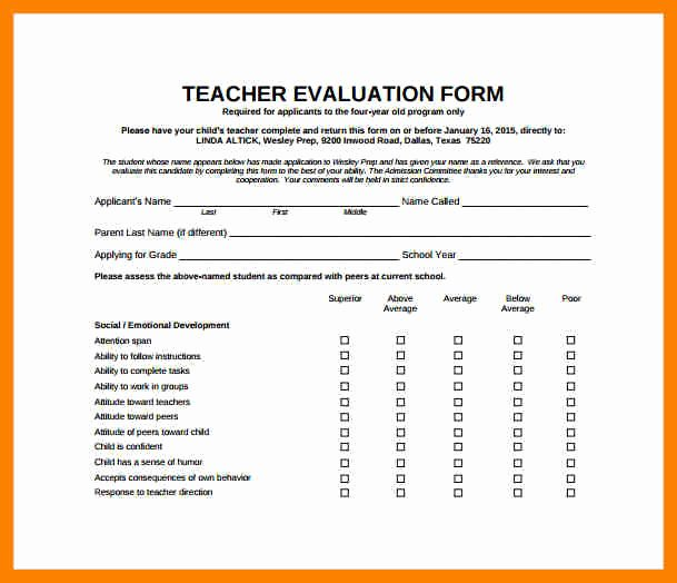 Teacher Performance Evaluation form Best Of Teacher Evaluation form