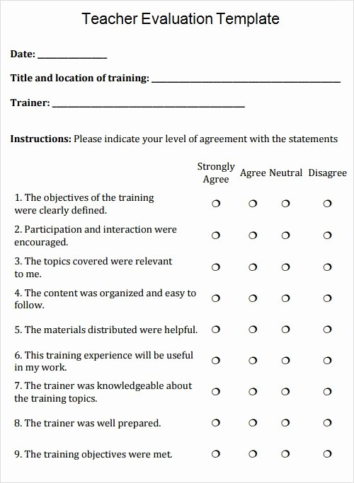 Teacher Performance Evaluation form Lovely Free 13 Evaluation Templates In Pdf