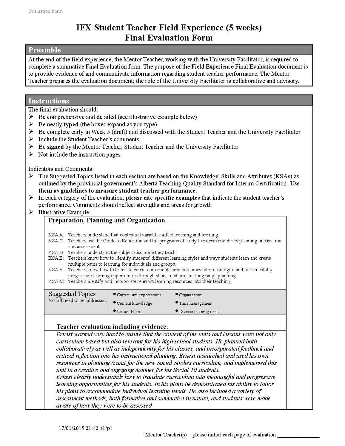 Teacher Performance Evaluation form Unique ifx Final Evaluation forms New 2013 1 by Shelley Wiebe issuu