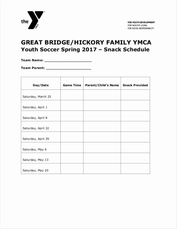 Team Snack Schedule Template New Free 11 Snack Schedule Samples & Templates