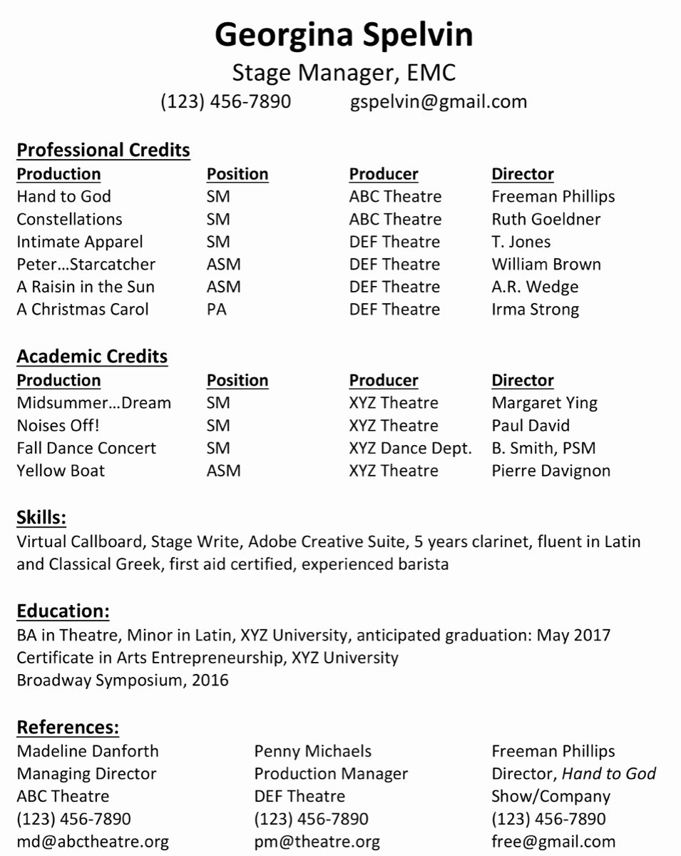 Tech theatre Resume Template Awesome Hunting for A Summer Sm Job Stage Directions