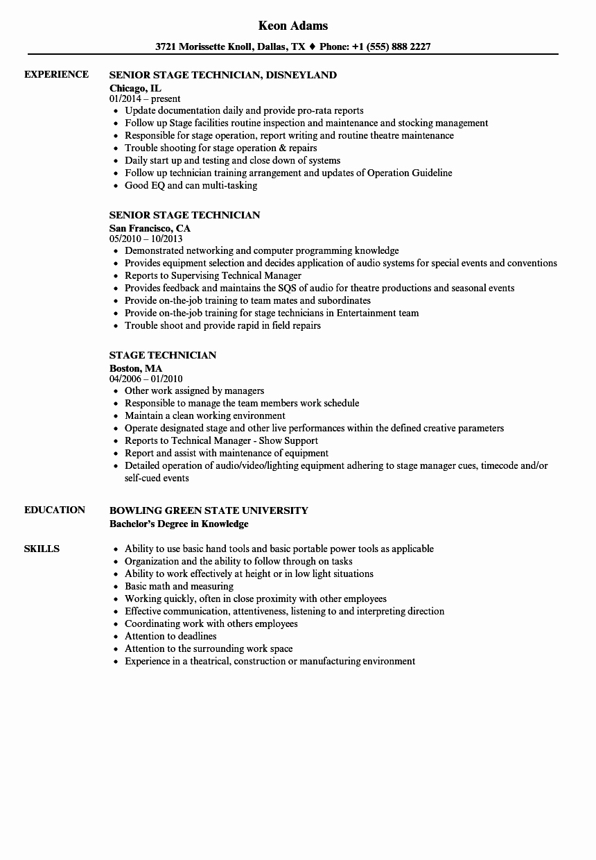 Tech theatre Resume Template Best Of Stage Technician Resume Samples
