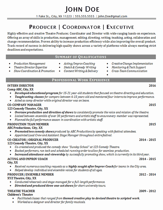 Tech theatre Resume Template Luxury theater Resume Example Entertainment Production Fine Arts