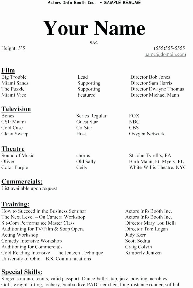 Tech theatre Resume Template New Example Actor Resume Sample Resume for Beginners Impressive Actors Resume Sample Free Acting