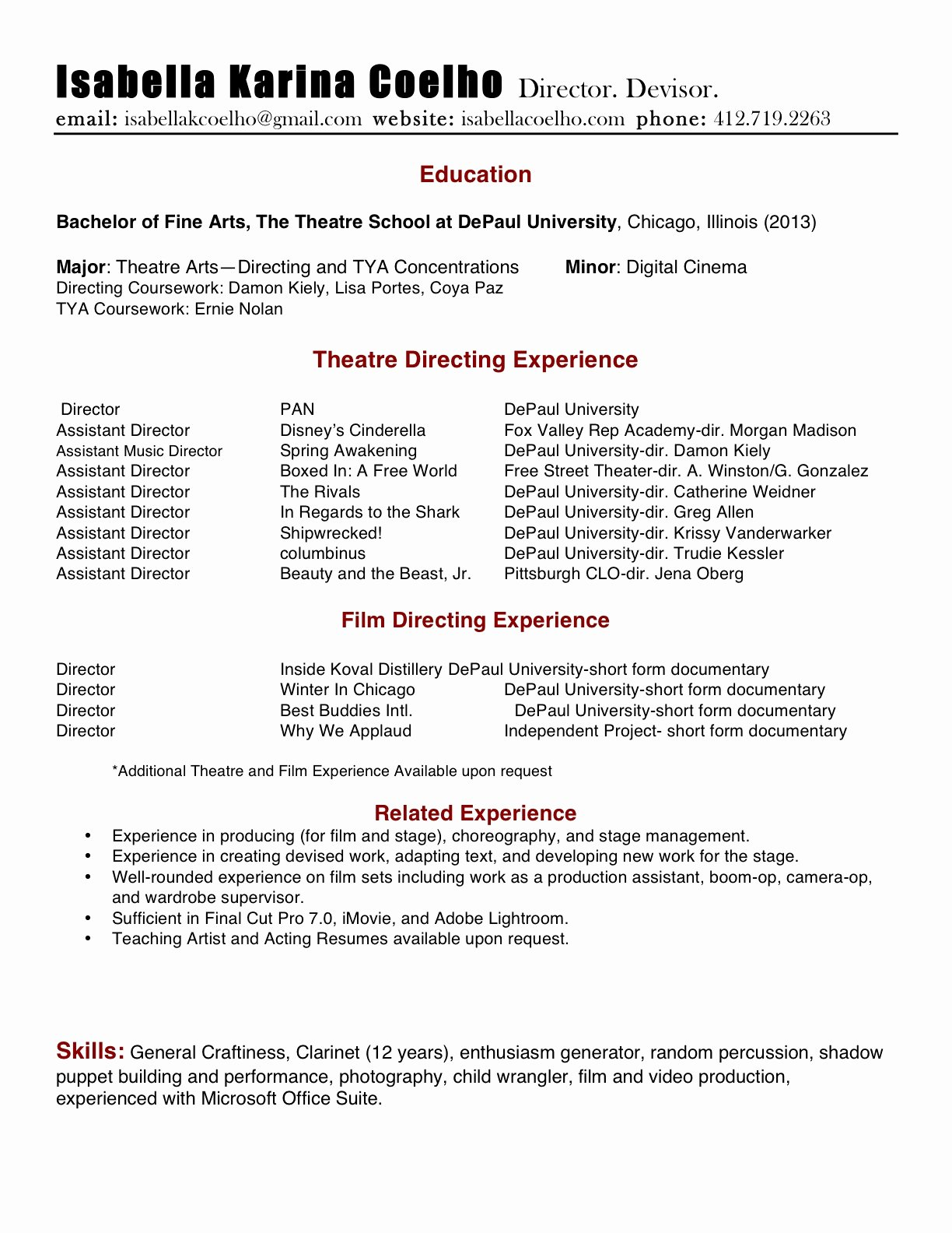 Tech theatre Resume Template Unique Best American Essays Five Points A Journal Of Literature and theater Directing Resume She