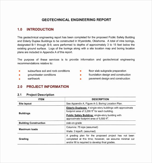 Technical Report Template Word Unique 17 Sample Engineering Reports Pdf Word Pages