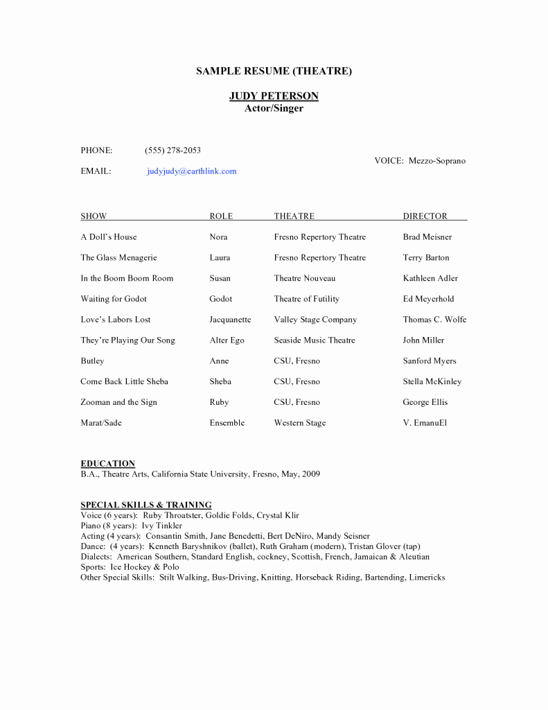 Technical theatre Resume Template Best Of theatre Resume Template