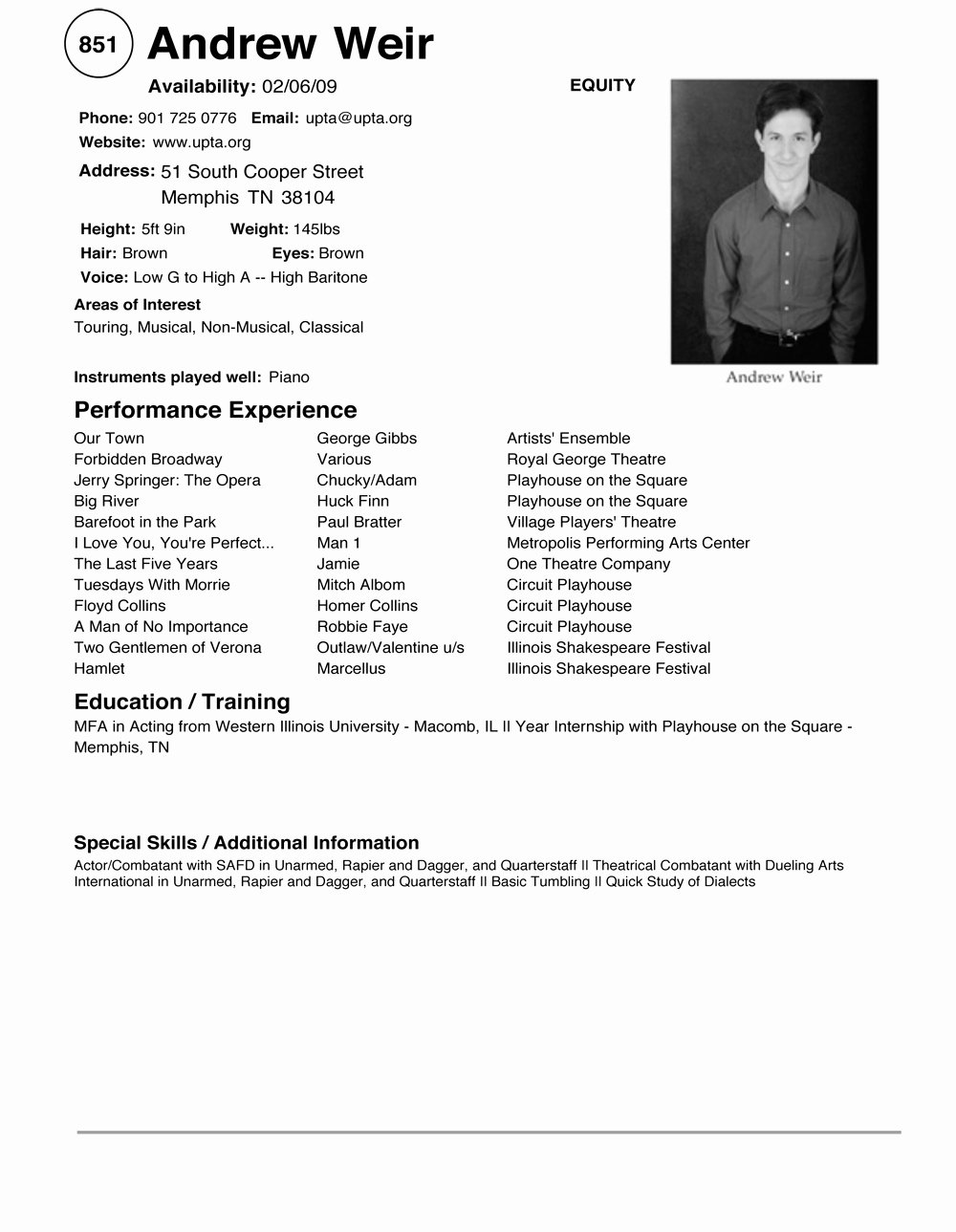Technical theatre Resume Template Best Of Varieties Resume Templates and Samples