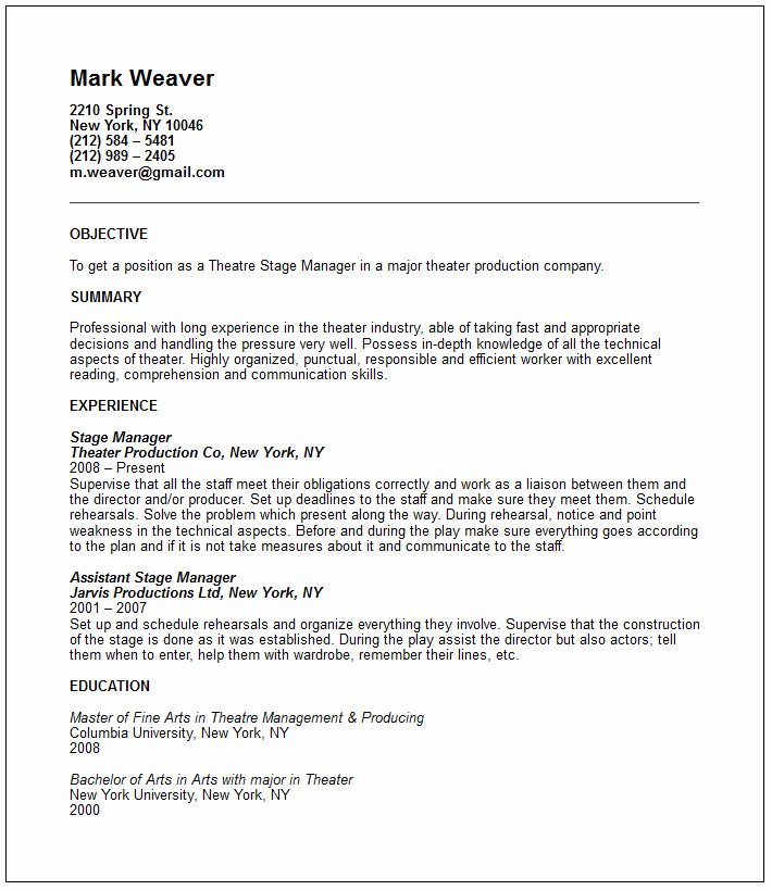 Technical theatre Resume Template Elegant theatre Resume Template