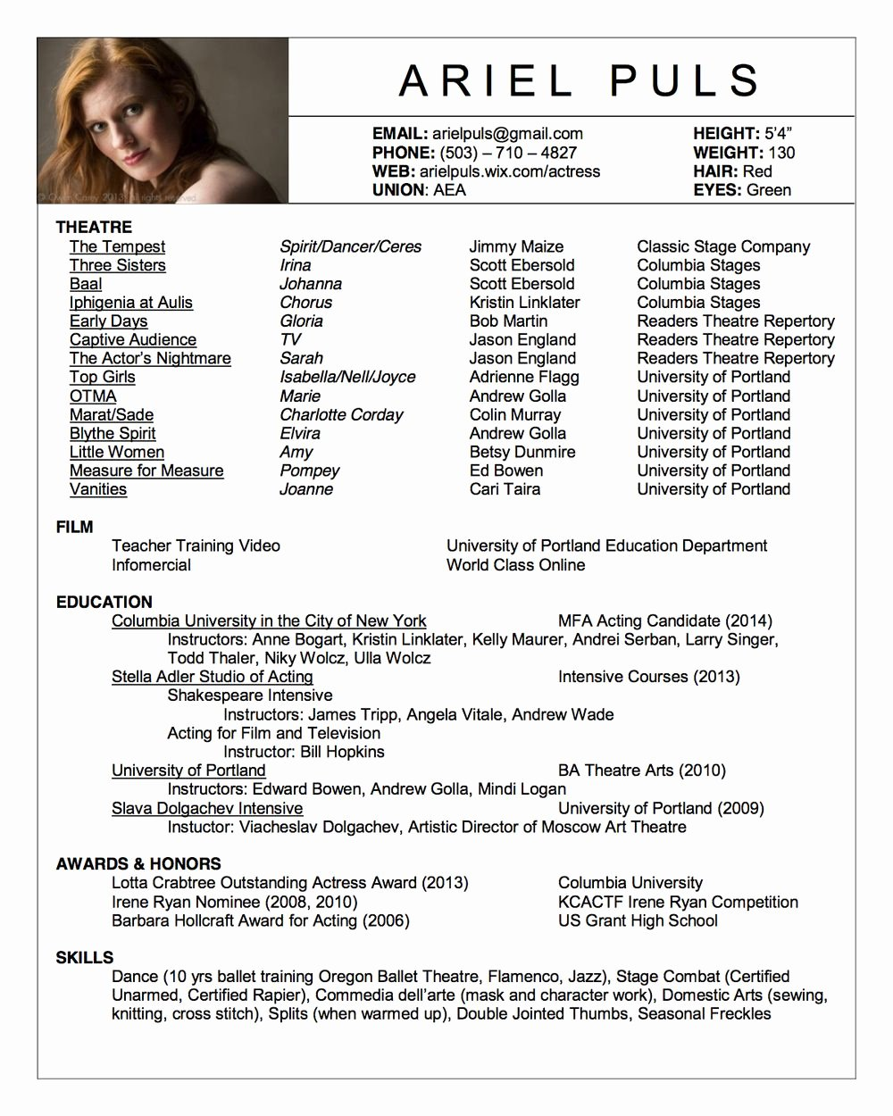 Technical theatre Resume Template Inspirational Acting Resume Google Search Acting Class Stuff