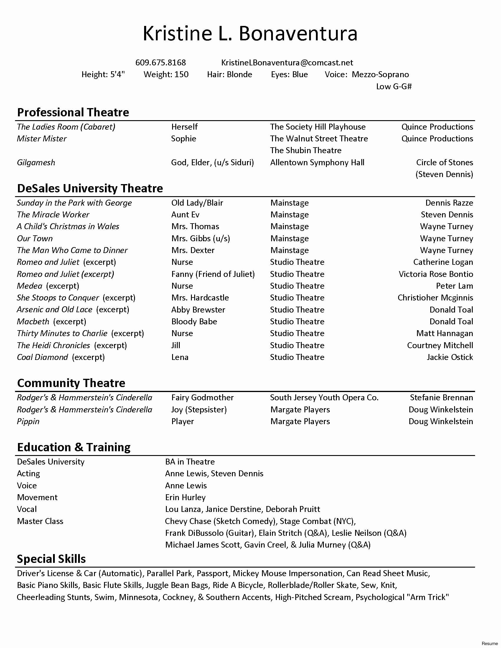 Technical theatre Resume Template Inspirational Technical theatre Resume Template
