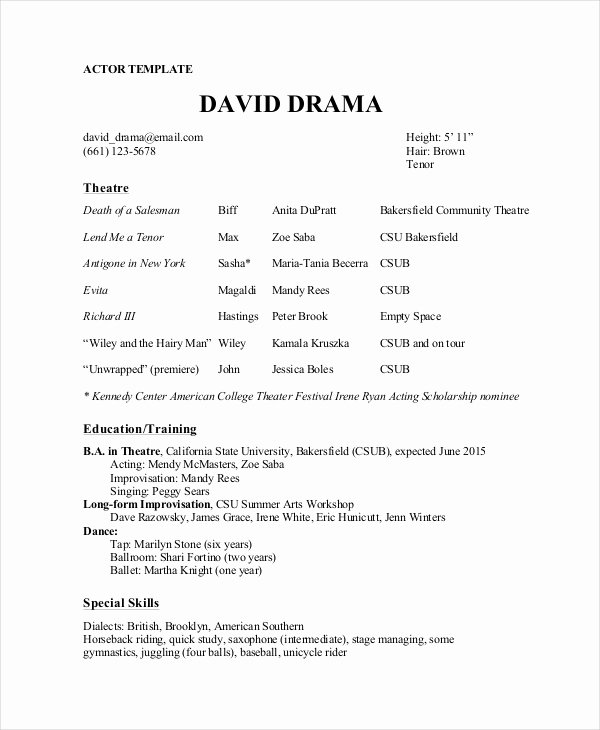 Technical theatre Resume Template Inspirational the General format and Tips for the theatre Resume Template
