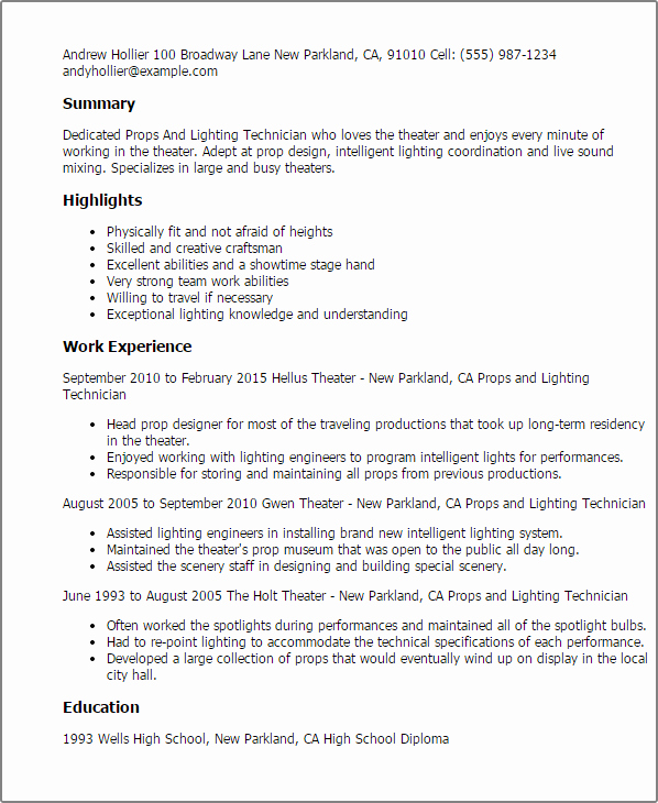 Technical theatre Resume Template Lovely Props and Lighting Technician Resume Template — Best Design & Tips