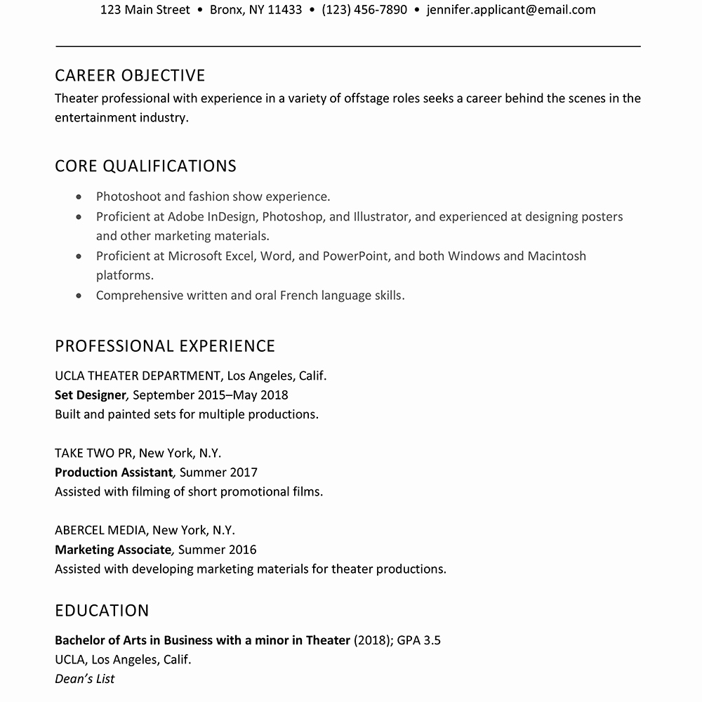 Technical theatre Resume Template Luxury A Good Sample theater Resume