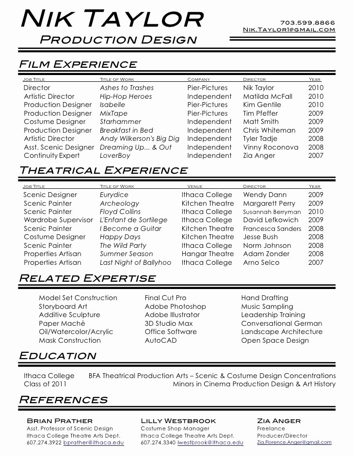 Technical theatre Resume Template Luxury & theatre Resume