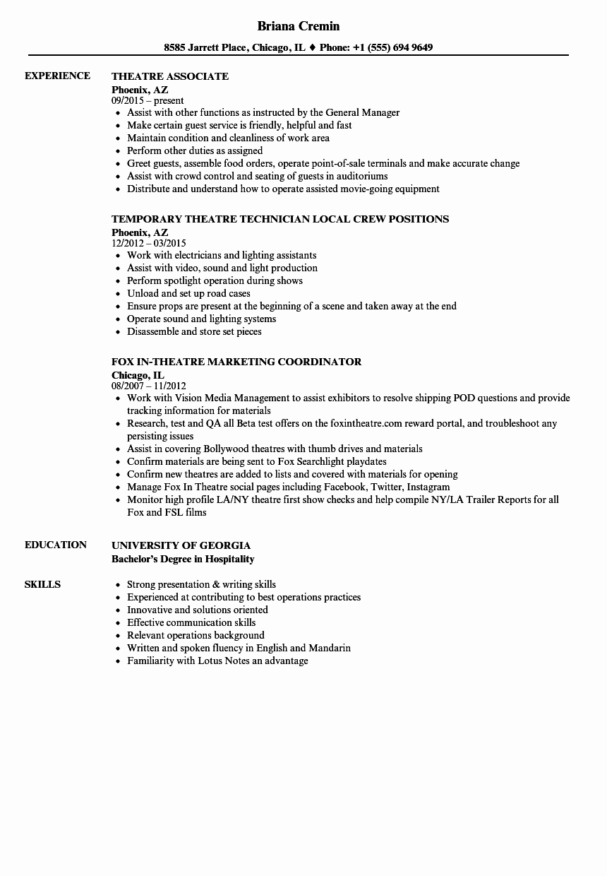Technical theatre Resume Template Unique 10 Point Of Sale Experience Resume