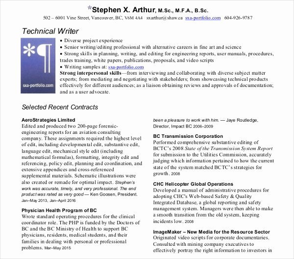 Technical Writer Resume Sample Awesome 10 Technical Writer Resume Templates Pdf Doc