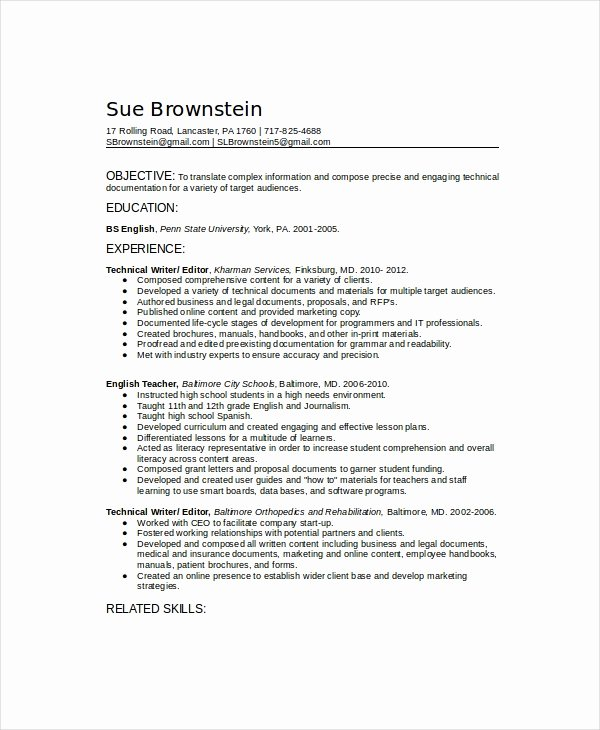 Technical Writer Resume Sample Best Of 10 Technical Writer Resume Templates Pdf Doc