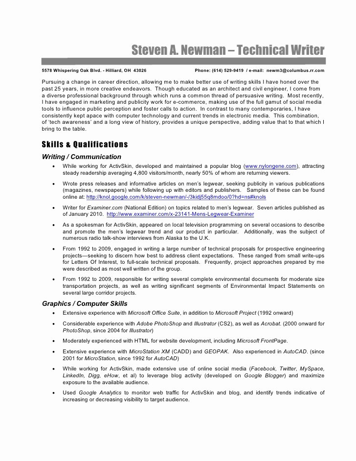 Technical Writer Resume Sample Elegant Technical Writer Resume Steve Newman