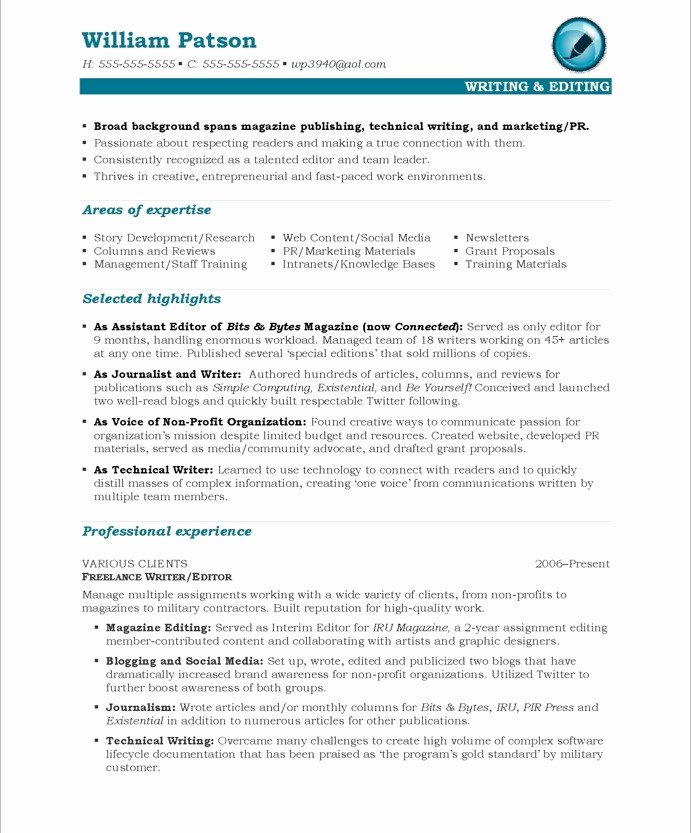 Technical Writer Resume Sample Elegant Writer Editor Free Resume Samples