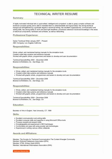 Technical Writer Resume Sample Luxury Sample Technical Writer Resume