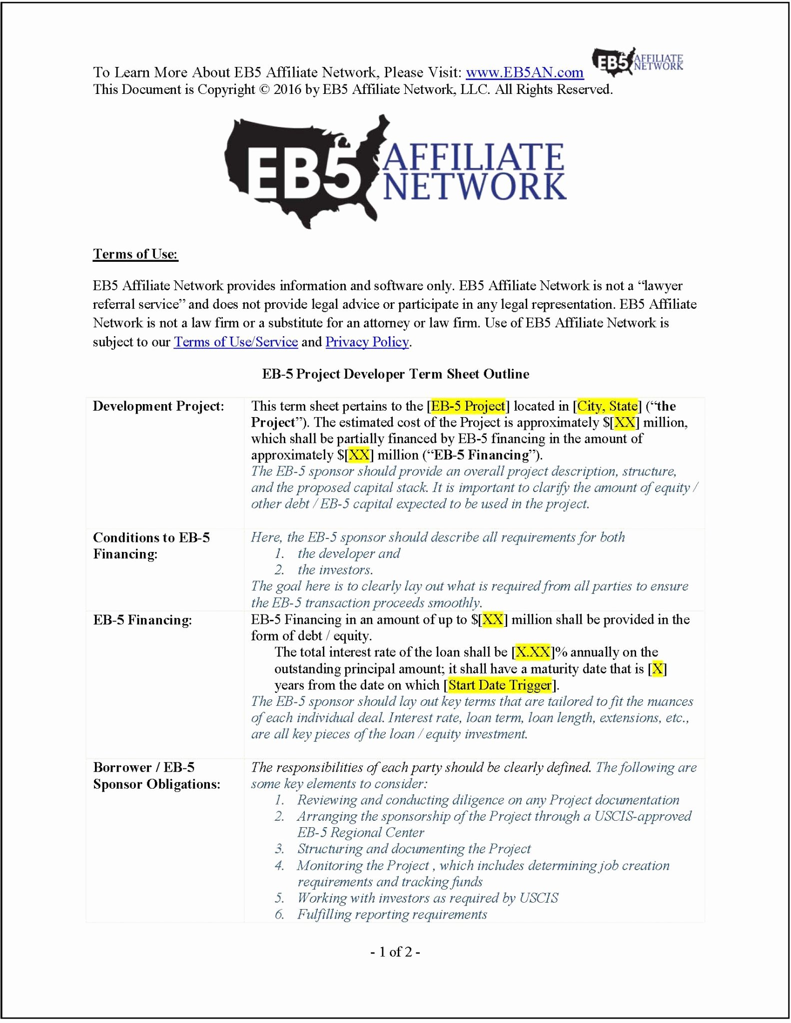 Term Sheet Template Word Awesome Sample Eb 5 Project Developer Term Sheet