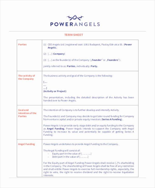 Term Sheet Template Word Elegant 35 Free Sheet Examples