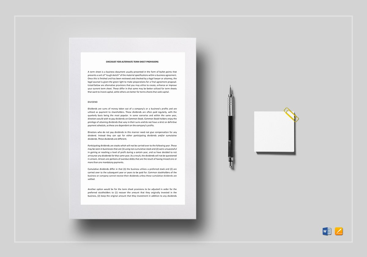 Term Sheet Template Word Elegant Checklist Alternate Term Sheet Provisions Template In Word Google Docs Apple Pages