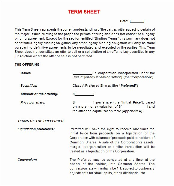 Term Sheet Template Word New Free 16 Sample Term Sheet Templates In Pdf